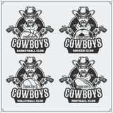 Volleyball, baseball, soccer and football logos and labels. Sport club emblems with cowboy. Royalty Free Stock Images