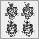Volleyball, baseball, soccer and football logos and labels. Sport club emblems with knight. royalty free illustration
