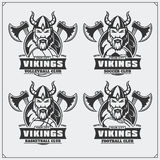 Volleyball, baseball, soccer and football logos and labels. Sport club emblems with viking. Black and white Royalty Free Stock Photo