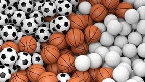 Volleyball, basketbal en voetbalballen Stock Foto's
