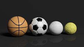 Volleyball,basketball,football and water polo ball on black background Stock Photo