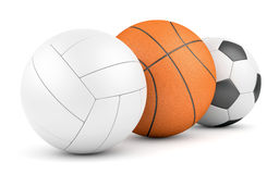 Volleyball, basketball and soccerball in row Royalty Free Stock Image
