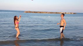 Volleyball on the beach stock video footage