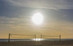 Volleyball beach court under a sunny day stock photography
