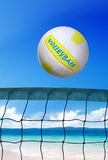 Volleyball on beach at sunny day Royalty Free Stock Images