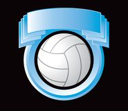 Volleyball in blue crest Stock Photos