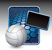 Volleyball on blue hexagon advertisement Royalty Free Stock Image
