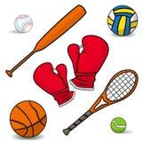 Volleyball, Boxhandschuhe, ein Basketball, Schläger, Schläger, Badminton Lizenzfreie Stockfotos