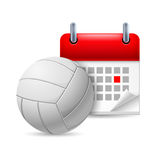 Volleyball and calendar Royalty Free Stock Photography