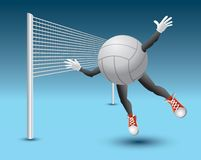 Volleyball character flying into net Stock Image