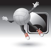 Volleyball character flying out of a silver frame Royalty Free Stock Photography