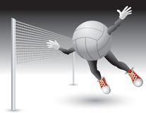 Volleyball character flying toward net Stock Photos
