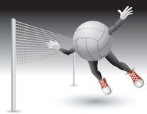 Volleyball character flying toward net Stock Photos