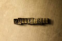 VOLLEYBALL - close-up of grungy vintage typeset word on metal backdrop Stock Photography