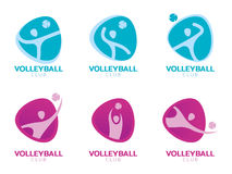 Volleyball club logo with human player play ball abstract vector set design Stock Photos