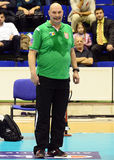 Volleyball coach pictured in action during Champions League game Stock Photo