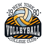 Volleyball College Club New YorkT-shirt Typography Stock Images