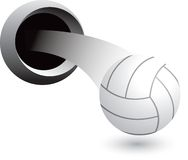 Volleyball coming out of hole Stock Photos