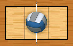 Volleyball and Court Background Illustration. An aerial view of a volleyball and hardwood court and net illustration. Vector EPS 10 available Royalty Free Stock Images