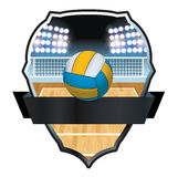 Volleyball and Court Badge Illustration Royalty Free Stock Photography