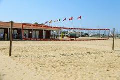 Volleyball court at the beach in Viareggio, Italy Stock Photography