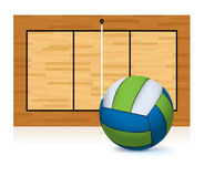 Volleyball and Court Copy Space Illustration Royalty Free Stock Photos