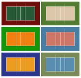 Volleyball court. Illustration of different volleyball court  on white Royalty Free Stock Images