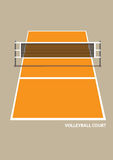 Volleyball Court with Net in Elevation View Vector Illustration Stock Image