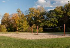 Volleyball Courts. Two empty volleyball courts on a fall afternoon royalty free stock photo