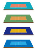 Volleyball Courts in Different Colours 3D Perspect Stock Photos