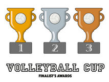 Volleyball Cup Finalists Awards in Gold, Silver and Bronze Royalty Free Stock Photo