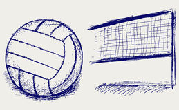 Volleyball de croquis Photo stock