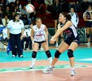 volleyball de décharge d'allumette d'action image stock