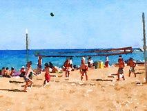 Volleyball de DW sur la plage 1 Photographie stock libre de droits