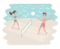 Volleyball de jeu de couples illustration de vecteur