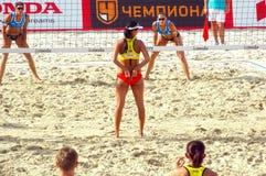 Volleyball 2015 de plage de tournoi de claquement de glande de Moscou Image libre de droits