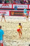 Volleyball 2015 de plage de tournoi de claquement de glande de Moscou Photos stock