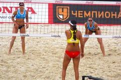 Volleyball 2015 de plage de tournoi de claquement de glande de Moscou Images stock