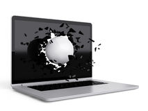 Volleyball destroy laptop Royalty Free Stock Images