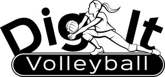 Volleyball Dig It. Female volleyball player returning a ball with a dig with the words dig it on a curve behind and the word volleyball in a banner underneath Stock Photo