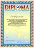 Volleyball Diploma blank template. Volleyball Diploma blank tenplate with hard vintage frame border, ribbons and floral elements stock illustration