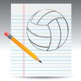 Volleyball drawn on paper with pencil Stock Photo