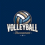 Volleyball emblem blue. Modern professional volleyball tournament logo with ball. Sport badge for team, championship or league. Vector illustration vector illustration