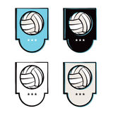 Volleyball Emblem Icons Set Stock Photo