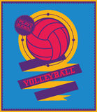 Volleyball emblem with ribbon. Sports logo. Royalty Free Stock Photo