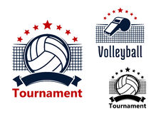 Volleyball emblems with balls, whistle and nets Stock Photos