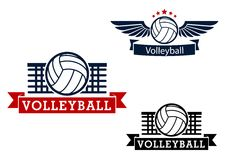 Volleyball emblems with game items Stock Images