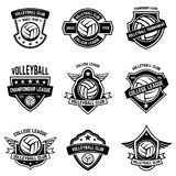 Volleyball emblems on white background. Design element for logo, label, emblem, sign, badge. Vector illustration Stock Photography