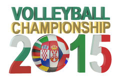 Volleyball European mans championship 2015 concept. Isolated on white background Stock Photography