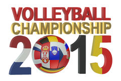 Volleyball European womens championship 2015 concept. Isolated on white background Royalty Free Stock Photography